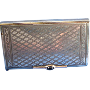 Vintage Very High Quality Sterling Large Match Safe With Gold and Jewels