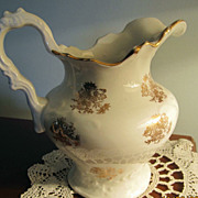 REDUCED PITCHER, Porcelain, Gold Decoration, Wash Set, Hot Water Pitcher