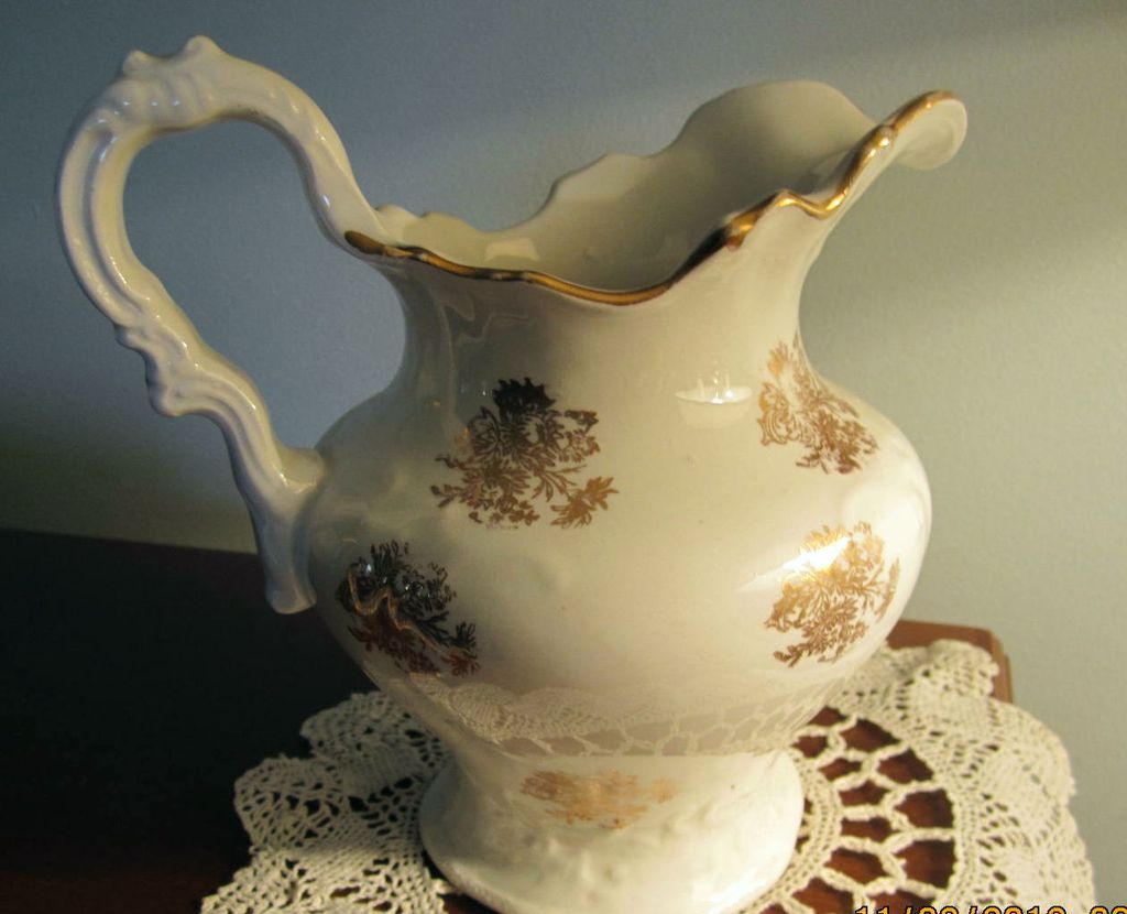PITCHER, Porcelain, Gold Decoration, Wash Set, Hot Water Pitcher