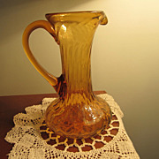 REDUCED GLASS,Pitcher,  Amber Swirl Glass, Hand Blown, Applied Handle, Vintage