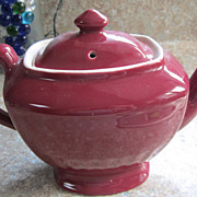 TEA Pot, Hall, Vintage, Burgundy Six Cup