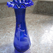 GLASS, Vase, Cobalt Blue,  hand blown/hand decorated, Gregory style