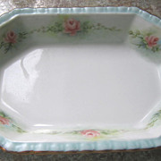 REDUCED DISH, Porcelain, Handpainted, Roses; Roses; Roses