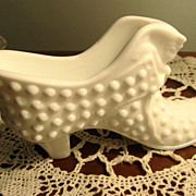 REDUCED GLASS, Milk Glass Collectible Shoe, Hobnail,Vintage