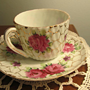 REDUCED PORCELAIN, Cup/Saucer Demi Tasse, Roses, Roses, Bone China