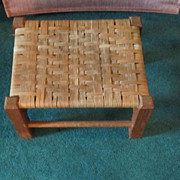 REDUCED STOOL, Wood/Woven Top, Small Foot Stool, Accent Item