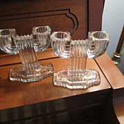 REDUCED CANDLE Sticks, Pair of double Holders, Vintage, Clear Glass