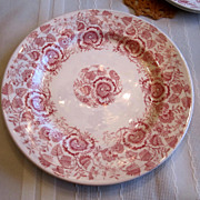 REDUCED PLATE, Pink Transfer Stoneware Plate, Lovely
