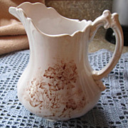 REDUCED PITCHER, Ceramic, White/Brown Transfer; Marked