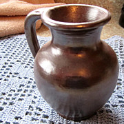 PITCHER, Decorative Brown Slip, Marked