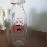 REDUCED BOTTLE, Milk Bottle, Ronny Brook Dairy, Complete with Cover,