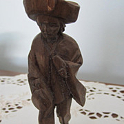FIGURINE, Wood Hand Carved, Man