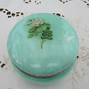 BOX, Powder Box, Green Agate/Alabaster with Roses, Shabby n Chic
