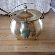 BRASS Fire Starter Pot with Pumas Stone, Covered, Great Item