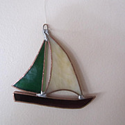 Glass Stained Glass Sun-catcher, Sail Boat, Hand Made