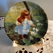 PLATE, Miniature Plate, Zolan, Precious Little Girl picking Flowers