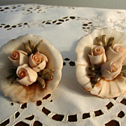 REDUCED Capodimonte Small Bouquets of Peach Color Roses, Bisque Porcelain