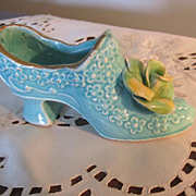SHOE, Porcelain, Collector Shoe, Lovely Aqua Blue, Great!