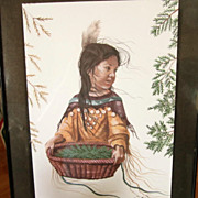 INDIAN Print, Indian Maiden, Adorable 8x10 signed, Estate Find