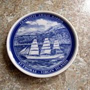 PLATE, Collectible, Blue & White, St. Thomas Souvenir