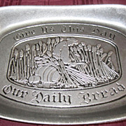 PEWTER, Bread Plate, Give Us this Day, Wilton Made in USA