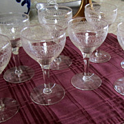 GLASSES, Wine, Extremely Vintage, Etched,Set of 8, Excellent,LOVELY