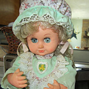 REDUCED DOLL, Beautiful, Musical, Animated Doll, Dressed in Pretty Gingham Print