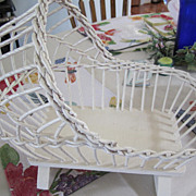 SOLD WICKER, Baby Doll Cradle, Rocking Cradle, W/liner, Extremely Vintage