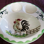 ROOSTER Soft Boiled Egg Plate, Pottery Plate, Excellent