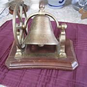BELL, Brass, Desk Bell, on Wood, Vintage