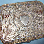 Super vintage silver filigree cigarette case.