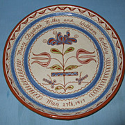 Lovely American Redware sgraffito slip decorated marriage plate 1917.