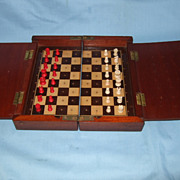 Antique travelling folding chess set possibly by Jaques.