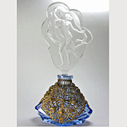 SALE Czech Figural Stopper Blue Filigree Base Perfume Bottle