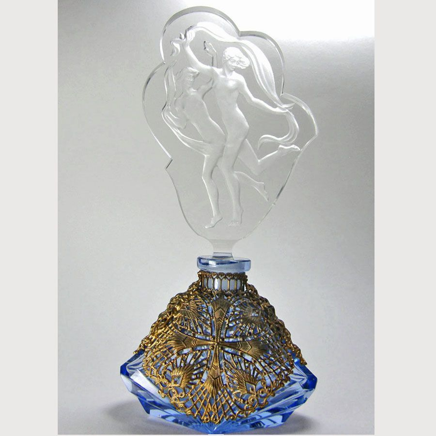 Czech Figural Stopper Blue Filigree Base Perfume Bottle
