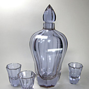 SALE Moser Alexandrit Glass Decanter Set