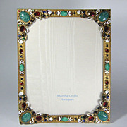 Austrian Bronze Jeweled Easel Back Picture Photo Frame