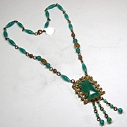 Czech Chrysophase Green Necklace
