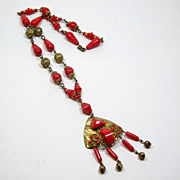 Bright Red Glass Stones Czech Necklace