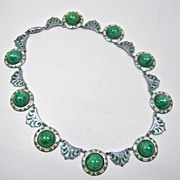Czech Malachite & Enamel Choker Style Necklace