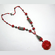 Red Rose Czech Necklace