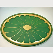 SALE 1926 DeVilbiss Green Gold Dresser Tray
