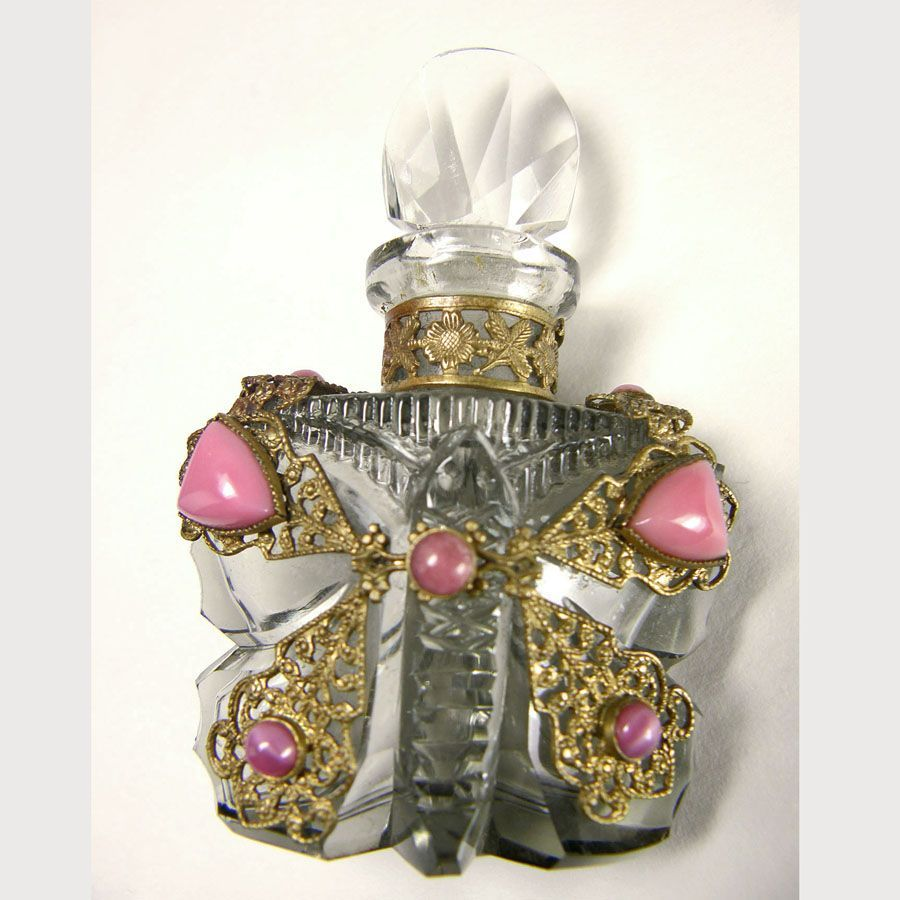 Czech Jeweled Butterfly Perfume Bottle