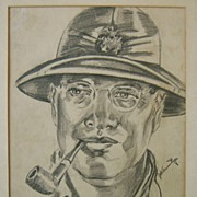 Original Trench Art Pencil Drawing of a WWII Marine Officer in Pith Helmet Armitage 1944