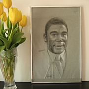 Charcoal Portrait Handsome African American Man signed Raleigh