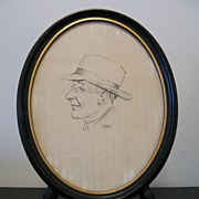 Norman Zimmerman Charcoal Portrait Man in Hat Oval Frame c1950