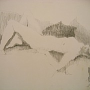 Nude #2 Reclining Woman Vintage Figurative Pencil / Graphite Drawing
