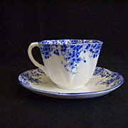 Vintage Shelley China Dainty Blue Tea Cup and Saucer