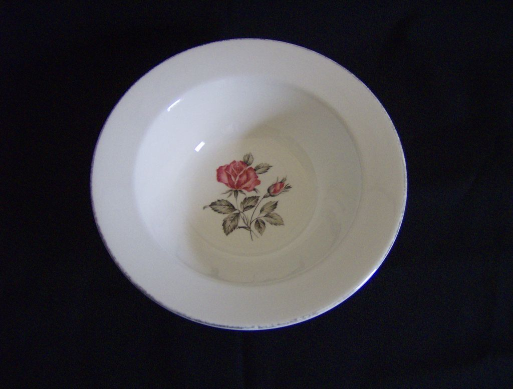 Bowl with Black Stemmed Red Rose and Gold Trim