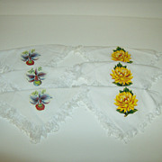 Linen Napkins with Iron On Applique Flowers ~ Iris & Chrysanthemum